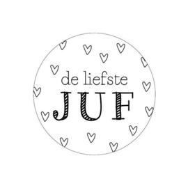 Sticker rond De Liefste Juf - 5 stuks