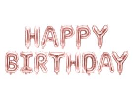 Tekst ballonnen Happy Birthday rosé kleurig
