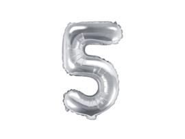 Cijfer ballon zilver - 5