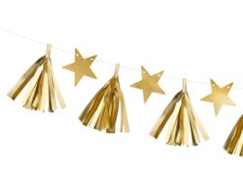 Kerst slinger met gouden sterren en tassels
