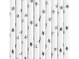 Papieren rietjes wit met zilveren sterrertjes - 10 stuks.