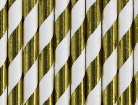Papieren rietjes goud-wit gestreept- 10 stuks