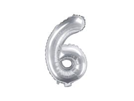 Cijfer ballon zilver - 6