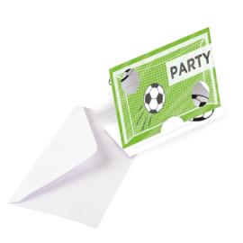 Voetbal feestje 8 uitnodigingskaartjes