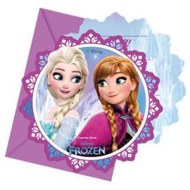 Frozen feestje 6 uitnodigingskaartjes