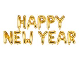 Tekst ballonnen Happy New Year goudkleurig