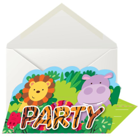 Jungle feestje uitnodigingskaartjes 8 stuks