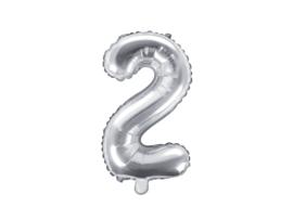 Cijfer ballon zilver - 2