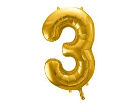 XL Cijfer ballon 3 goud  86cm