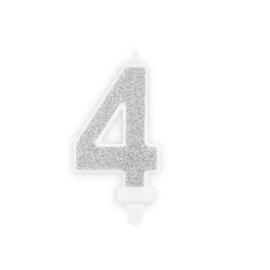 "Verjaardagskaarsje ""4"" zilver glitters"