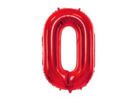XL Cijfer ballon 0 rood  86cm
