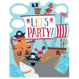 Piraat AHOY uitnodigingskaartjes