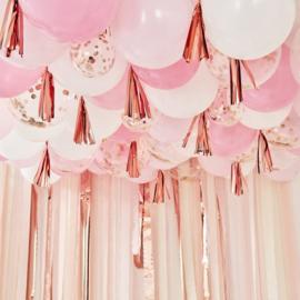 Ballonnen plafond decoratie pakket Roze, Rosé-goud en Wit - 160 delig