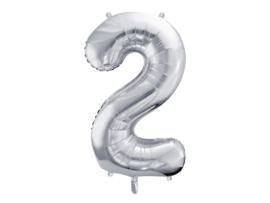 XL Cijfer ballon zilver - 2