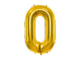 XL Cijfer ballon 0 goud  86cm
