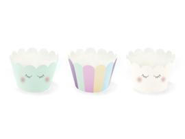 Unicorn  cupcake wikkels Stars -  set van 6