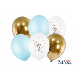 Balllonnen set blauw 1 jaar - 6-delig
