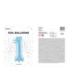 "Cijferballon baby blauw XL ""1"""