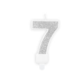 "Verjaardagskaarsje ""7"" zilver glitters"