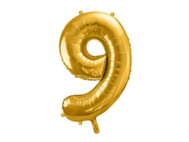 XL Cijfer ballon 9 goud  86cm