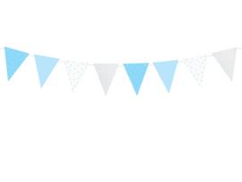 Vlaggenlijn blauwe stippen en sterretjes