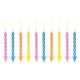 Verjaardagskaarsjes met gekleurde vlam - 10 stuks