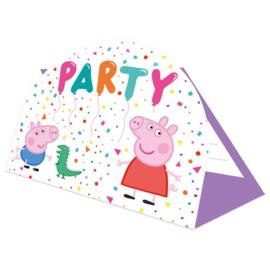 Peppa Pig uitnodiginskaartjes 8 stuks