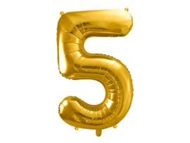 XL Cijfer ballon 5 goud  86cm