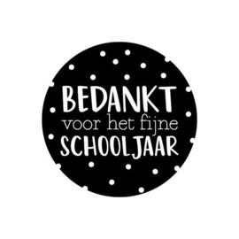 Sticker rond Bedankt voor het fijne schooljaar - 5 stuks