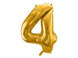 XL Cijfer ballon 4 goud  86cm