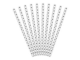 Papieren rietjes wit-zwart stipje - 10 stuks