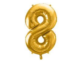 XL Cijfer ballon 8 goud  86cm