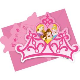 Disney prinses uitnodigingskaartjes 6 stuks