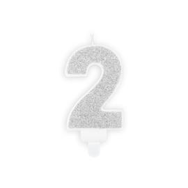 "Verjaardagskaarsje ""2"" zilver glitters"