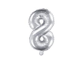 Cijfer ballon zilver - 8