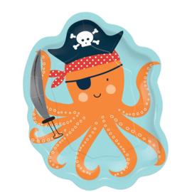 Piraat AHOY octopus bordjes - 8 stuks