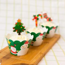 Cupcake wikkel kerstmotief - per stuk