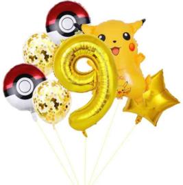 Pikachu ballonnen set met cijferballon 9 XL