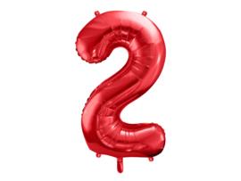 XL Cijfer ballon 2 rood  86cm