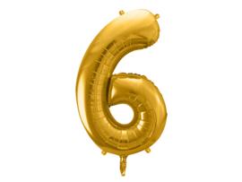 XL Cijfer ballon 6 goud  86cm