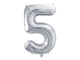 XL Cijfer ballon zilver - 5