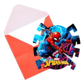 Spiderman feestje uitnodigingskaartjes 6 stuks