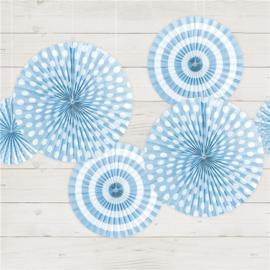 Papieren waaiers blauw met motief 3 stuks
