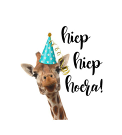Traktatielabel Hiep Hiep Hoera giraffe