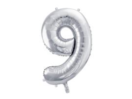 XL Cijfer ballon zilver - 9