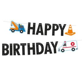 Redders op de weg Letterslinger Happy Birthday