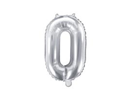 Cijfer ballon zilver - 0