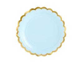 Bordjes licht blauw met  gouden randje -  6 stuks