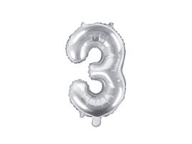 Cijfer ballon zilver - 3
