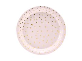 Bordjes licht roze met gouden stipjes-  6 stuks